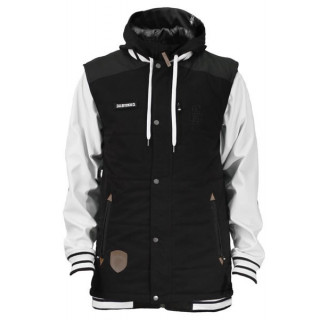 Saga puff vest and poly combo tuxedo black / white