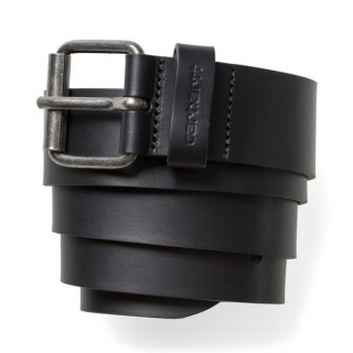 Carhartt ceinture script belt cow leather black/ siver inox