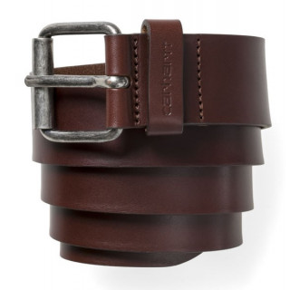 Carhartt script belt cow leather dark brown/ siver inox