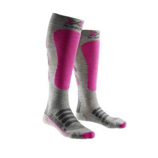 X-SOCKS CHAUSSETTES silk merino/ soie laine/ lady gris/fuschia