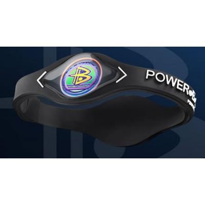 Powerbalance Bracelet Silicone Noir Avec Lettre Blanche Avec Hologramme