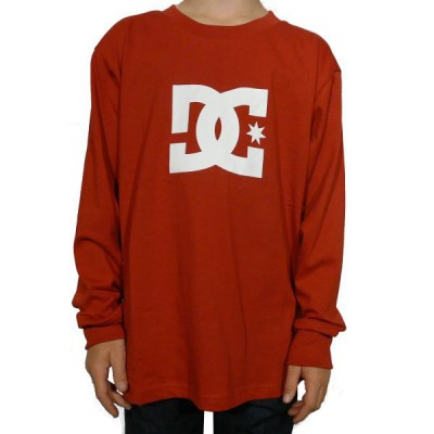Dc Shoes Tee Shirt Enfant Kids Star Standard Ls Tee Junior Deep Red / White