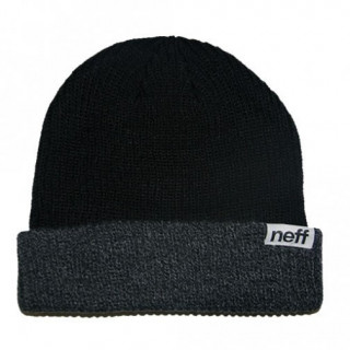 Neff bonnet à revers FOLD DOUBLE BEANIE black / grey HEATHER