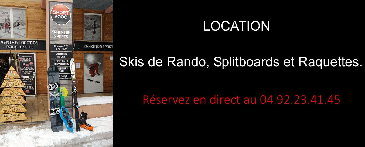 Rental touring skis, splitboard and snowshoes