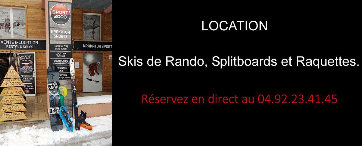 Location skis de randonnée, splitboard et raquette